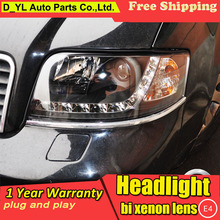 D_YL Car Styling for Audi A6 Headlights 1999-2004 for Audi A6 LED Headlight DRL Lens Double Beam H7 HID Xenon bi xenon lens(China)