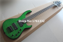 Hot sale Factory custom 24 frets 5 strings glossy green electric bass guitar with cloud line veneer,can be changed as request