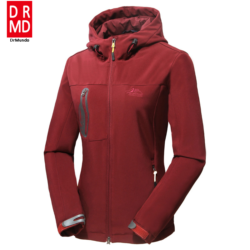 Women soft shell hiking jacket Cross country waterproof elasticity jacket windproof outdoor clothing women Mountaineering jacket<br>