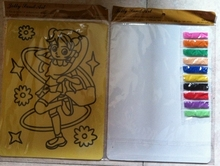 Color Sand art kit for children 20x28cm yellow sticker card with 10 bags of color sand(about 2g each color)(China)