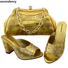 New Arrival Gold Color Sales In Women Matching Shoes and Bag Set Decorated with Rhinestone High Quality African Wedding Shoes(China)