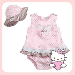 Retail Free shipment Baby girls clothing set, hello kitty pink wave point Siamese  jumpsuit +cap, newborn baby romper set<br><br>Aliexpress