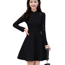 Women A word Dresses Spring New 2018 Long sleeved Lace Beautiful Temperament Fashion Long sleeve Female Vestidos Outside wear423(China)