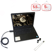 5m Cable Waterproof OTG USB Endoscope with 5.5mm 6LED Lens HD Pinhole Camera USB PC Endoscope Inspection Borescope for PC Laptop(China)