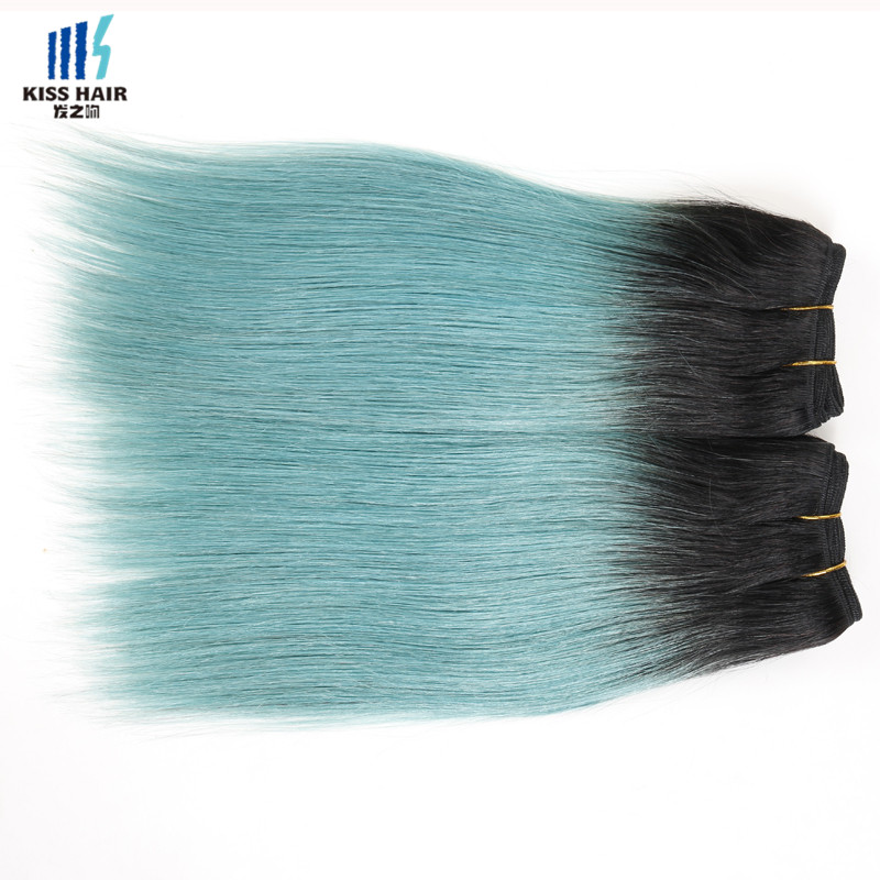 Tissage Indian Ombre Hair 2 Bundle Straight Virgin Indian Hair T1b/Green Short Hair Style Indian Straight Human Hair Extensions<br><br>Aliexpress