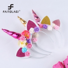 1Pcs DIY Kids Unicorn Headband Glitter Hairband Rainbow Unicorn Horn Hairband Easter Bonus for Party(China)