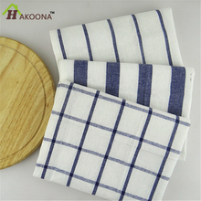 HAKOONA  Table Napkins  Mediterranean Blue Series Of Grid Stripes Tea Towels Home Kitchen Towels Table Mats Pads