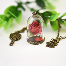 2017 ZA Red Rose B Vial Necklace Little Prince Rose Pendant Necklace Retro Crystal Natural Dried Flowers Necklace Wholesale(China)