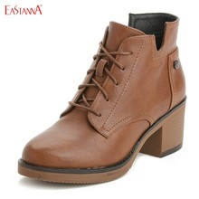 EASTANNA Brown leather winter warm high-end rainy day high-heeled boots Female boots women faux embroidered cm cowboy high-top(China)