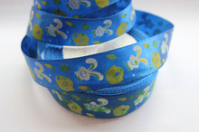 "Free Shipping 25yards 1"" (25mm) width, Lovely rabbit blue colour ribbon Satin ribbon, DIY hair bow accessories, gift package"