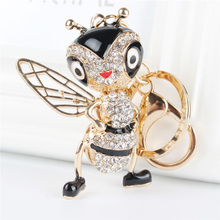 Buy Lovely Bee Honeybee Pendant Charm Rhinestone Crystal Purse Bag Keyring Key Chain Accessories Wedding Party Gift for $2.75 in AliExpress store