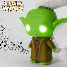 Classic Movie Star Wars The Force Awakens Jedi Master Yoda Keychain With Sound And Led Flashlight Action Figure Toys Gift(China)