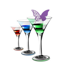 50pcs/set Butterfly Cut-out Place Escort Wine Glass Cup Paper Card for Wedding Party Home Decorations White Purple Name Cards