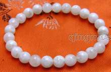 "SALE small 8mm Round white Natural High quality Moonstone Beads bracelet 7.5""-bra265 Free shipping(China)"