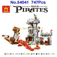 Wange 54041 747pcs Pirates Of The Caribbean Fish Monster Boat Castle Skull Captain Building Block Brick Toy