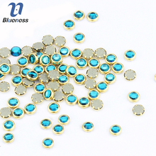 Blueness 3D Green Rhinestones For Nails Art 100Pcs/lot Glitter Crystal Studs Design Supplies Nail Decorations Alloy Stones PJ332