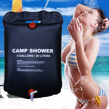20L&40L Gallons Solar Energy Heated Camp Shower Bag Outdoor Camping Hiking Utility Water Storage PVC Black Shower 05