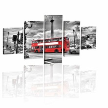 Modern London Red Bus Car Wall Art Picture Melamine Sponge Board Canvas Prints Oil Painting 5pcs No Frame Art Picture London(China)