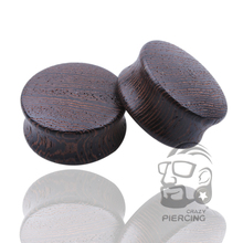 Black Wood Ear Plugs Organic Saddle Gauges Body Piercing Jewelry Ear Gauges Sold in Pairs(China)