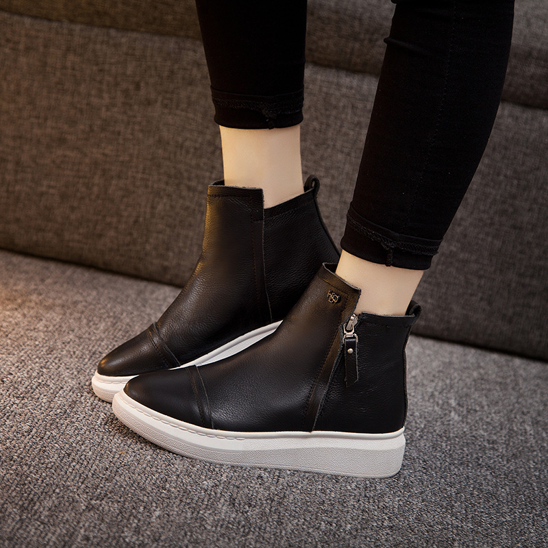 Thick leather of new fund of 2017 autumn winters is recreational the female high help bare bottom short boots boots side zippers<br><br>Aliexpress