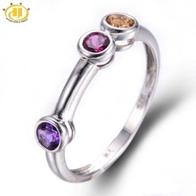 Hutang Natural Amethyst, Rhodolite & Citrine 925 Sterling Silver Ring Round Gemstones Novelty Fine Jewelry Summer Style
