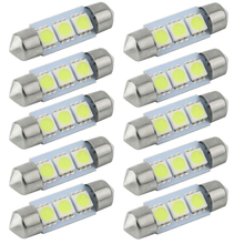 CQD-Light 10PCS 31mm 36mm 39mm 41mm 12V C5W Cold White 3 SMD LED Festoon Interior Dome Light Lamp Bulb For Carng(China)