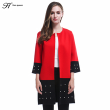 H Han Queen High Quality Cardigan Women Sweater 2017 New Autumn Winter Long Sleeve Bead Knitted Cardigans Female Tricot Tops(China)