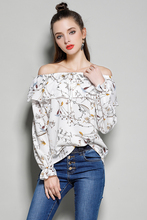 Buy New Womens Tops Fashion Shoulder Elegant Long Sleeve Women Floral Chiffon Blouse Female Flare Sleeve Ladies office blouse for $12.90 in AliExpress store