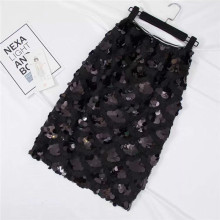 Sequins Skirts SummerFashion Beading Knee-Length Empire Sexy Club Skirts(China)