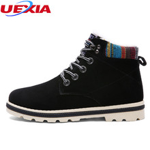 UEXIA Men Ankle Winter Warm Short Plush Flats Fashion Fur Male Work Shoes Lace Snow Boots Casual Martin Boots Botas Masculina
