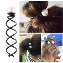 2Pcs Pearl Black Spiral Spin Screw Bobby Pin Hair Clips Lady Twist Barrette Hiar Accessory(China)