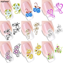 AddFavor 1 Sheet Nail Art Stickers Flower Butterfly Long Vine Decals Decorations Manicure DIY Wraps Tools Nail Accessories(China)