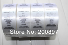 customized labels 1000pcs per roll garment care label instruction printed tag in satin or non woven
