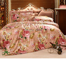 100% seamless  4 pcs 100% pure Silk Bedding Set  printed  silk satin flat sheet and pillowcases ,duvet cover(China)