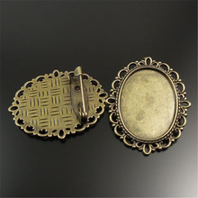 20pcs/pack Vintage Women Antiqued Bronze Tone Alloy Flower Oval Cameo Cabochon Setting Base Tray Pin Brooches 36*30*7mm 32087(China)