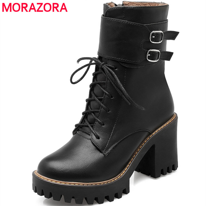 MORAZORA Fashion boots women 2018 Autumn winter buckle ladies shoes high heels round toe platform lace up ankle boots for women<br>