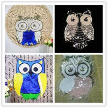 1PC Owl Sequined Beaded Diamond Embroidery Patches Sticker for Crafts clothes Coat Applique Iron on Fabric Parches Diy kids(China)