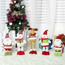 New Christmas Stretchable Santa Claus Snowman Reindeer Telescopic Doll  Decoration Xmas Tree Hanging Ornaments Pendant Gift