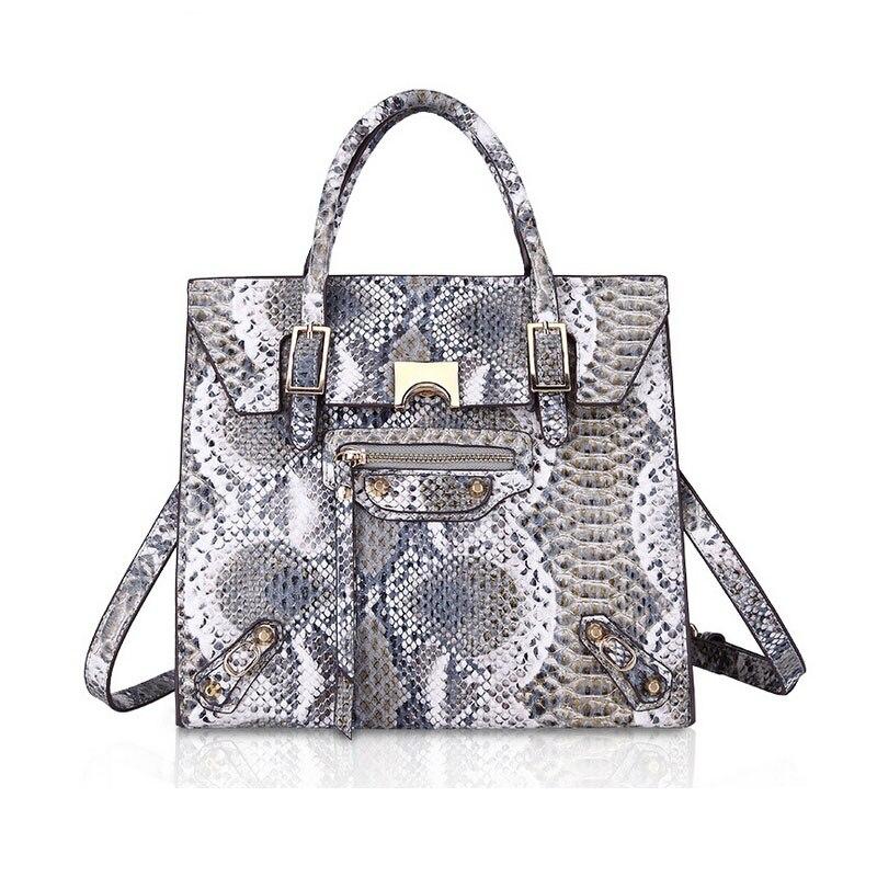 Premium Snake Skin Tote Bag Luxury Handbags Women Bags Designer Tassel Shiny Shopper Bag PU Leather Female bolso Gray Brown Pink<br>