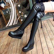 2016 New Brand Winter Women Knee High Boots High Quality Leather Hollow out Patchwork Increased Ladies Thigh High Platform Boot