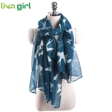 High quality Women Long Swallow Print Shawl Voile Rectangle Star Print Womens foulard twilly Scarf F82