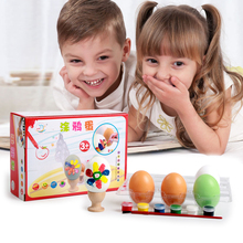 Candice guo wooden toy wood egg colorful graffiti game drawing DIY design pattern funny birthday gift christmas present 5pcs/set