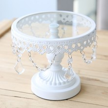 19*16cm  White Metal Iron Cake Stand Cake Pan Fruit Plate Western Pastry Pallet Wedding Decoration Small Size