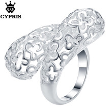 2018 SUPER DEAL Hot silver Fashion Ring Hollow Flower plant style Party Wholesale Price Factory wedding gift lover's day CYPRIS(China)
