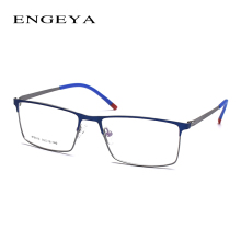 ENGEYA Optical Metal Glasses Frame Men Retro Clear Myopia Prescription Eyewear Square Designer Eyeglasses Frame Unique Hinge