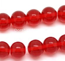 "Doreen Box hot-  Red Round Glass Loose Beads 8mm Dia(3/8""),Approx 100Pcs (B21219)"