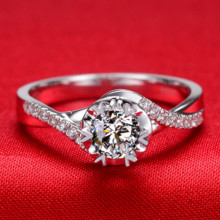 0.45CT Vintage Twist Arms Semi Mount Genuine Moissanite Wedding Ring Pure 18K White Gold Ring For Bride Fine Jewelry