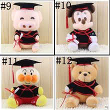 20cm=8'' Graduation Gifts Plush Graduation Toy Dolls/Teddy bear/Mickey Minnie for College student classmates graduation souvenir