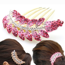 Ms Korea fashion headdress elegant high-grade crystal leaves full hair fork combs Red and purple