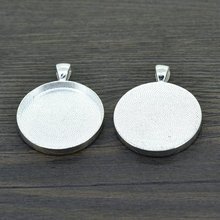 LIEBE ENGEL 10pcs 30mm Size Silver Color Necklace Setting Pendant Cabochon Cameo Base Tray Bezel Blank Jewelry Making Findings(China)